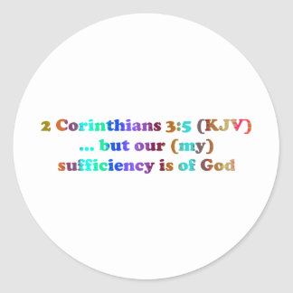 2 Cor 3:5 Corinthians Classic Round Sticker