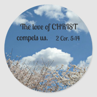 2 Cor. 5:14 The love of Christ compels us. Classic Round Sticker