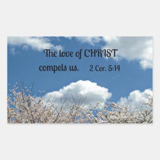 2 Cor. 5:14 The love of Christ compels us. Rectangular Sticker