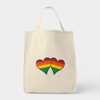 2 corazones del arco iris bolsa tela para la compra