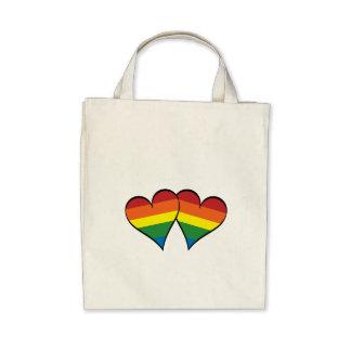 2 corazones del arco iris bolsas lienzo