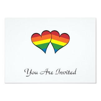 """2 corazones del arco iris invitación 5"""" x 7"""""""