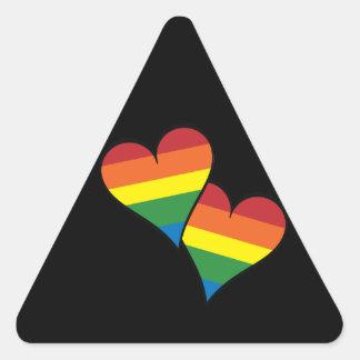 2 corazones del arco iris pegatina triangular