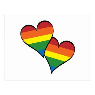 2 corazones del arco iris postal