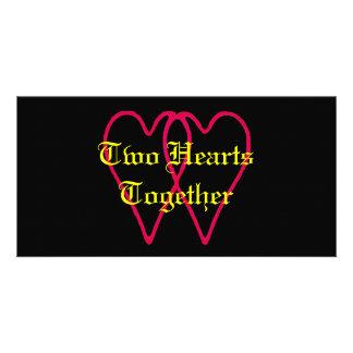 2 corazones junto dos los regalos de Zazzle del Tarjetas Fotográficas