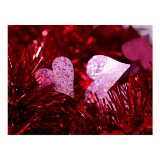 2 corazones tarjetas postales
