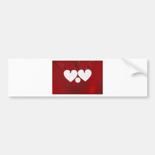 2 corazones y te amo pegatina de parachoque