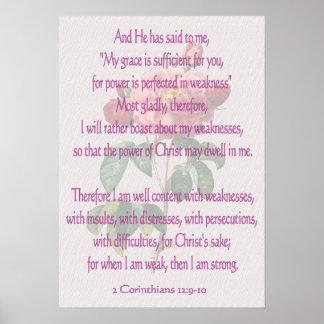 2 Corinthians 12:9-10 Poster