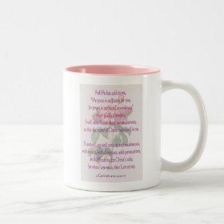 2 Corinthians 12:9-10 Two-Tone Coffee Mug