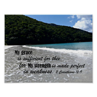 2 Corinthians 12:9 My grace is sufficient for thee Poster