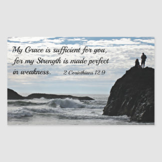2 Corinthians 12:9 My grace is sufficient for you. Rectangle Sticker