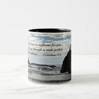 2 Corinthians 12:9 My grace is sufficient for you. Two-Tone Coffee Mug