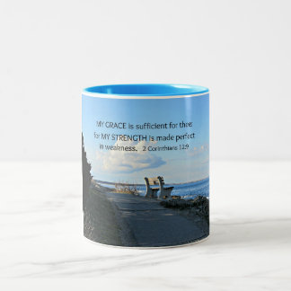 2 Corinthians 12:9 My Grace is sufficient ... Two-Tone Coffee Mug