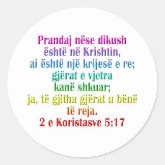 2 Corinthians 5:17 Albanian Classic Round Sticker
