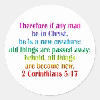 2 Corinthians 5:17 English Classic Round Sticker