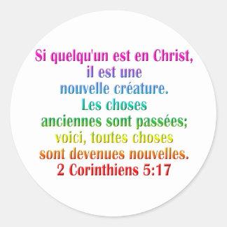 2 Corinthians 5:17 French Classic Round Sticker