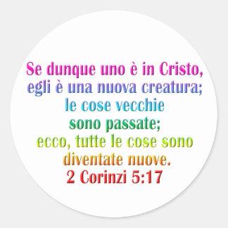 2 Corinthians 5:17 Italian Classic Round Sticker