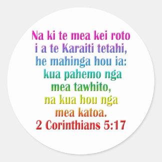 2 Corinthians 5:17 Maori Classic Round Sticker