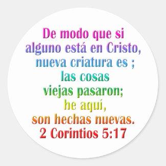 2 Corinthians 5:17 Spanish Round Sticker