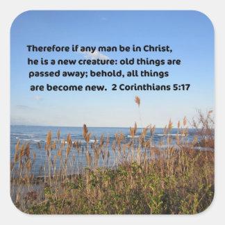 2 Corinthians 5:17 Square Sticker
