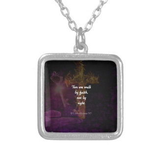 2 Corinthians 5:7 Bible Verse Quote About Faith Silver Plated Necklace