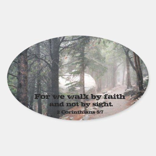 2 Corinthians 5:7 Oval Sticker