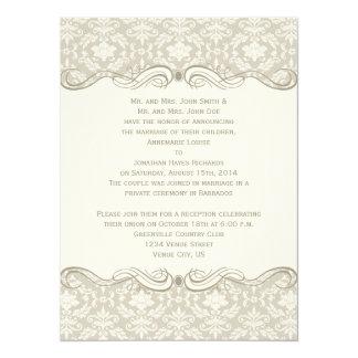 #2 Cream Tan Damask Swirls Post Wedding Card