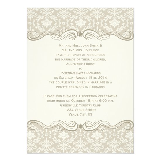 #2 Cream Tan Damask Swirls Post Wedding Invitation
