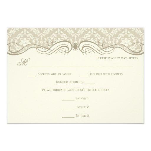 #2 Cream Tan Damask Swirls RSVP Menu Choice Personalized Announcement