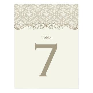 #2 Cream Tan Ivory Damask Swirls Table Cards Postcard
