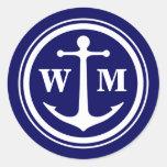 2 Custom Initials Anchor Monogram Classic Round Sticker