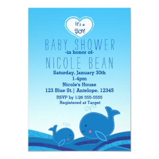 2 Cute Blue Whales Baby Shower Party Invitations