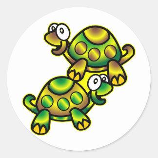 2 Cute Cartoon Turtles Classic Round Sticker
