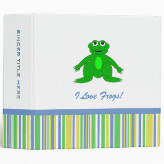 """2"""" Cute Frog Personalized Binder"""