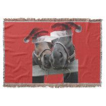 2 Cute Horses wearing Santa Claus Hat Throw