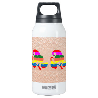 2 Cute Jewel Flower on Embossed Gold Foil Thermos Water Bottle