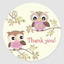 2 Cute Owls on Branches Thank you Stickers