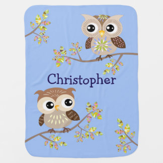 2 Cute Owls on Colorful Branches in Baby Blue Baby Stroller Blanket