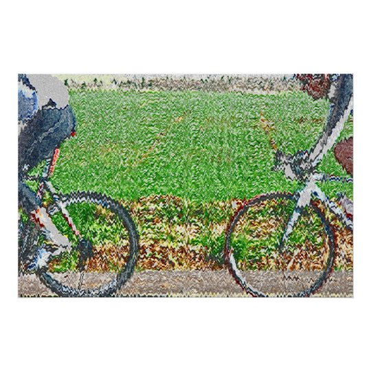 2 Cyclists In Front Of A Green Field Poster