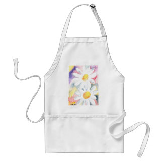 2 daisy flowers watercolor whimsical art painting adult apron