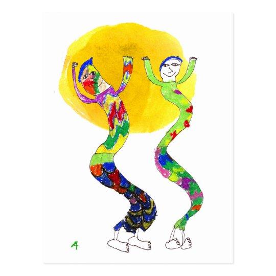 2 Dancers dancing in the Sun Postcard