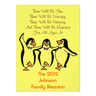 #2 Dancing Penguins Family Reunion Party Hotel inf Card