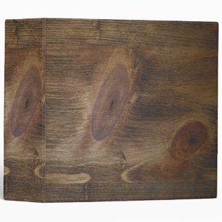"""2"""" Dark Brown Rustic Wood Look Background 3 Ring Binder"""