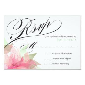 """2 de lujo florales del rosa del Stargazer de RSVP Invitación 3.5"""" X 5"""""""