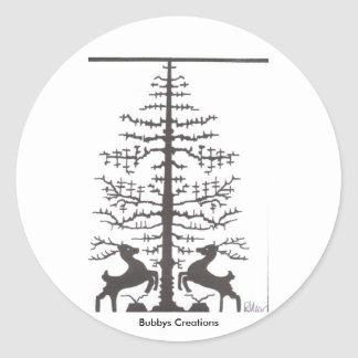 2 Deer with Tree Classic Round Sticker