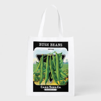 2 Different Vintage Seed Packet Label Art Veggies Reusable Grocery Bag