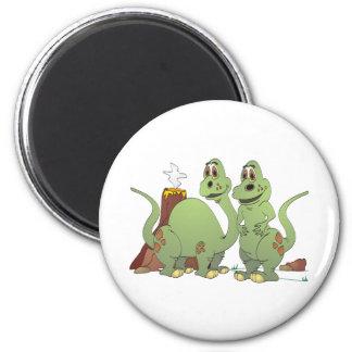 2 Dinosaur Friends Cartoon 2 Inch Round Magnet
