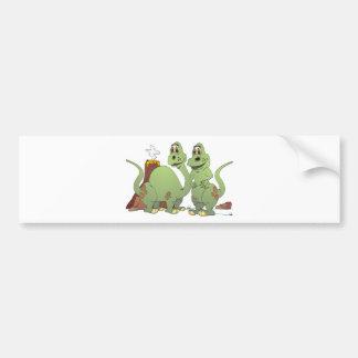 2 Dinosaur Friends Cartoon Bumper Sticker