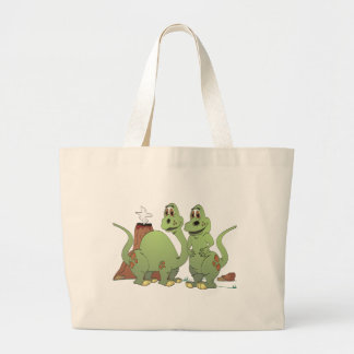 2 Dinosaur Friends Cartoon Large Tote Bag