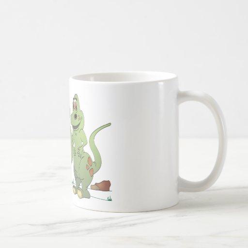 2 Dinosaur Friends Cartoon Classic White Coffee Mug